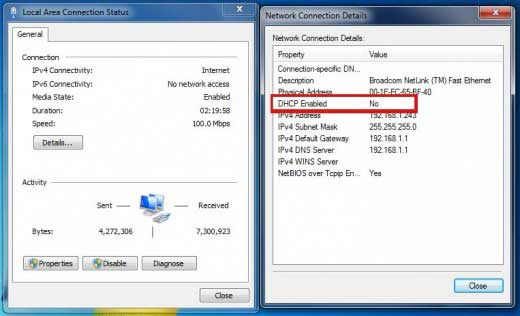 ip configuration dhcp enabled